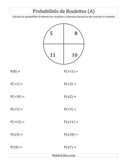 La Probabilité -- Roulette à 4 sections (A) Fiche d'Exercices sur la Statisque et Probabilité