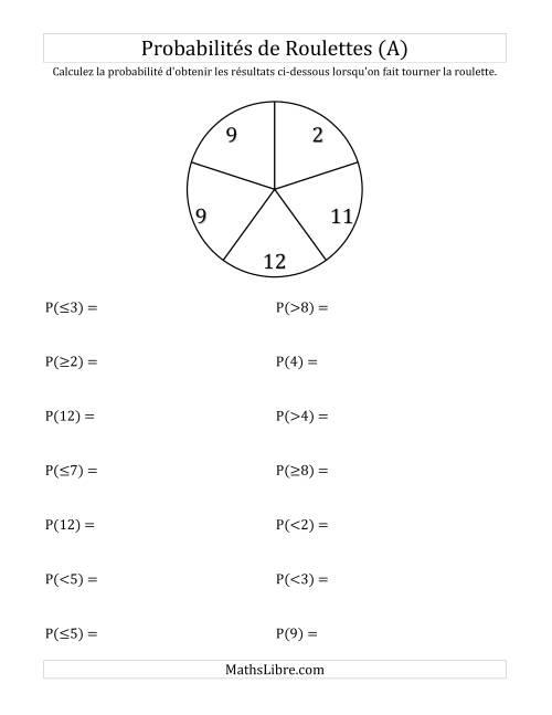 La Probabilité -- Roulette à 5 sections (A) Fiche d'Exercices sur la Statisque et Probabilité