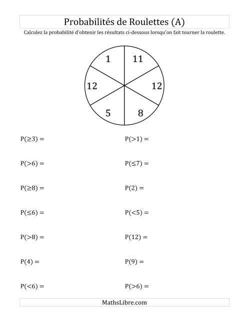 La Probabilité -- Roulette à 6 sections (A) Fiche d'Exercices sur la Statisque et Probabilité
