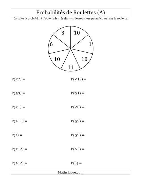 La Probabilité -- Roulette à 7 sections (A) Fiche d'Exercices sur la Statisque et Probabilité