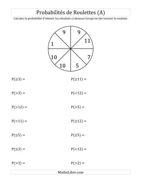 La Probabilité -- Roulette à 8 sections (A) Fiche d'Exercices sur la Statisque et Probabilité