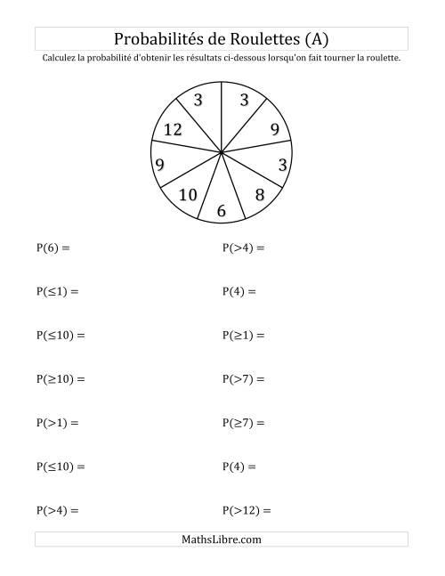 La Probabilité -- Roulette à 9 sections (A) Fiche d'Exercices sur la Statisque et Probabilité
