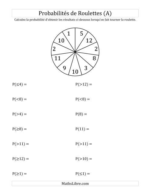 La Probabilité -- Roulette à 11 sections (A) Fiche d'Exercices sur la Statisque et Probabilité