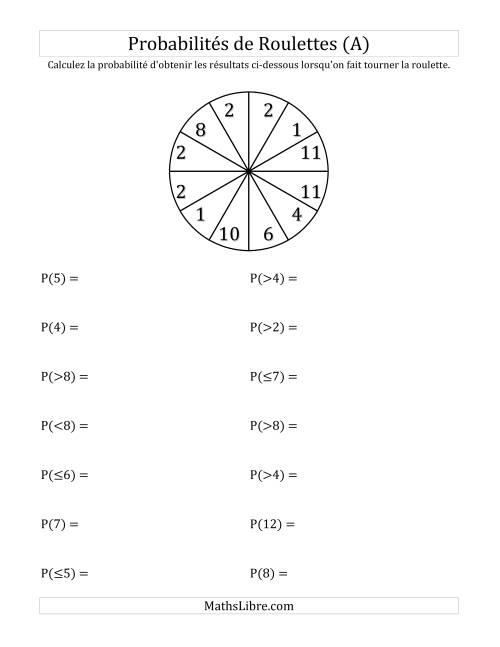 La Probabilité -- Roulette à 12 sections (A) Fiche d'Exercices sur la Statisque et Probabilité
