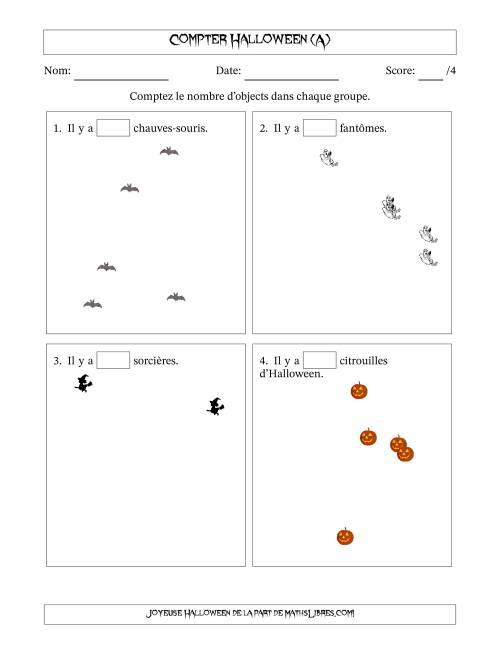 La Comptage d'Images d'Halloween en Forme Dispersée (A) Fiche d'Exercices pour l'Halloween