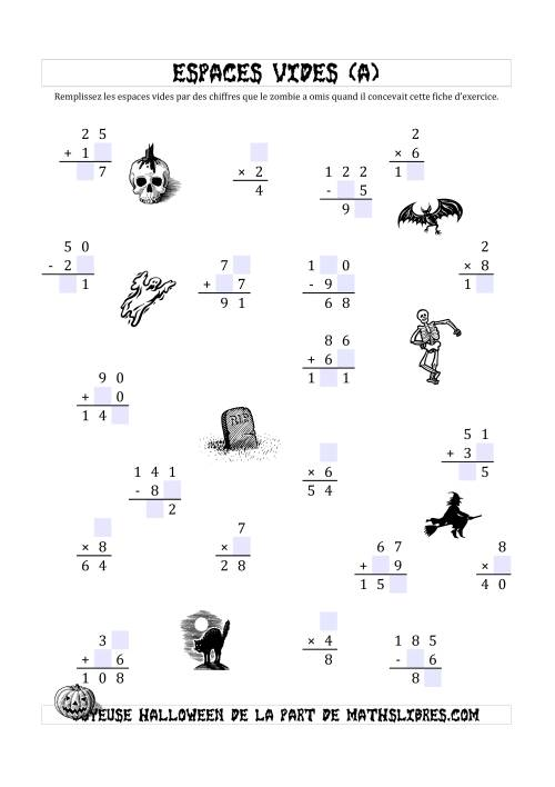 La Remplir l'Espace Vide par des nombres omis par des Zombies (A) Fiche d'Exercices pour l'Halloween