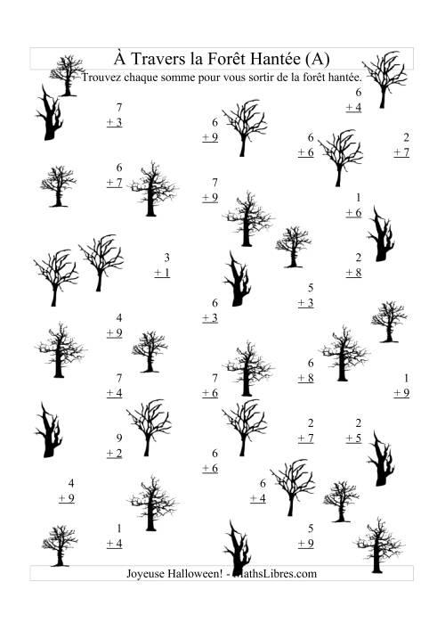 La Addition à Travers la Forêt Hantée (Addition Un-Chiffre) (A) Activités Mathématiques pour l'Halloween