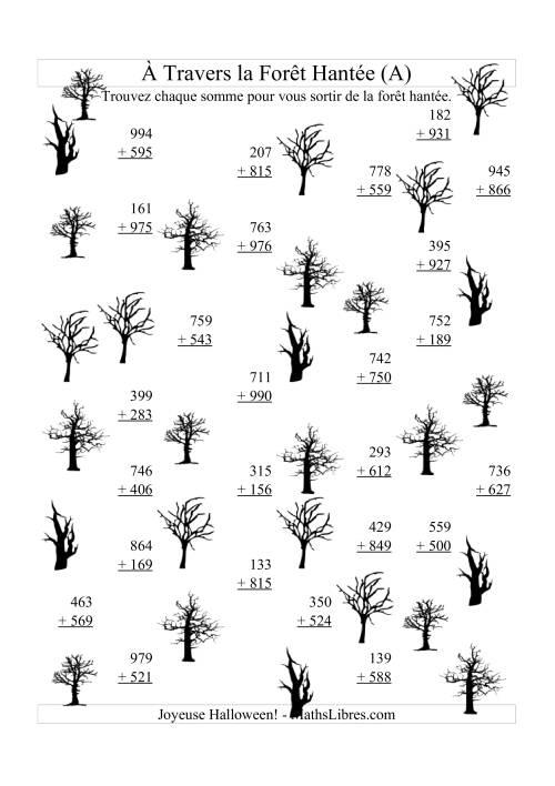 La Addition à Travers la Forêt Hantée (Addition Trois-Chiffres) (A) Activités Mathématiques pour l'Halloween