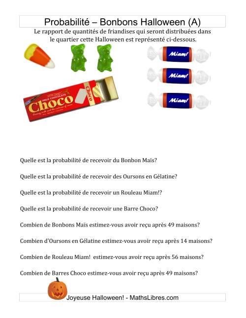 La Probabilités et Prédictions Bonbons Halloween (A) Activités Mathématiques pour l'Halloween