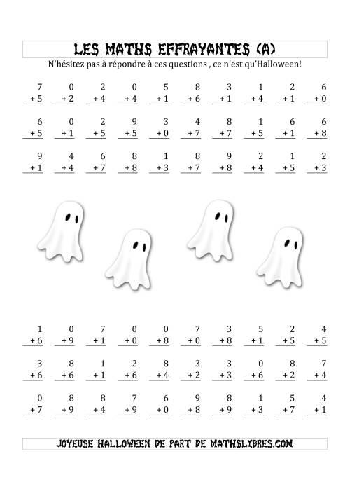 La Les Maths Effrayantes (Addition à Un Chiffre) (A) Fiche d'Exercices pour l'Halloween