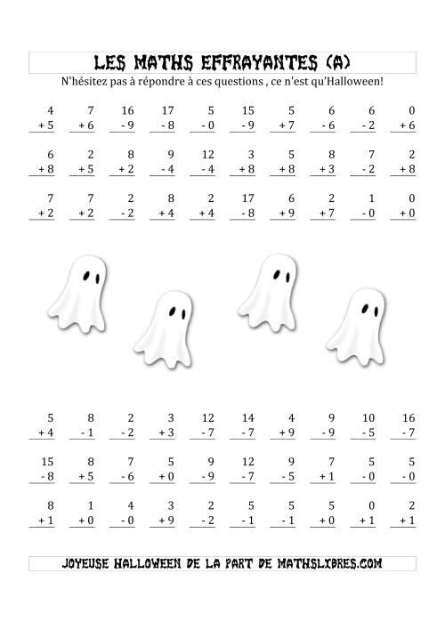 La Les Maths Effrayantes (Opérations avec Un ou Deux Chiffres) (A) Fiche d'Exercices pour l'Halloween