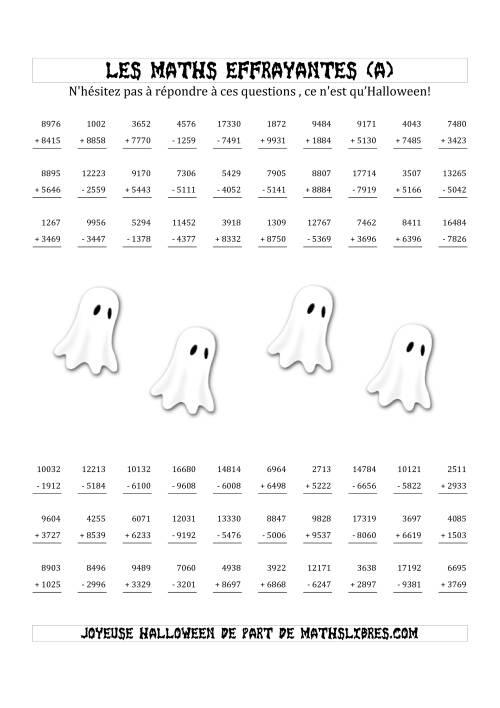 La Les Maths Effrayantes (Opérations avec Quatre ou Cinq Chiffres) (A) Fiche d'Exercices pour l'Halloween