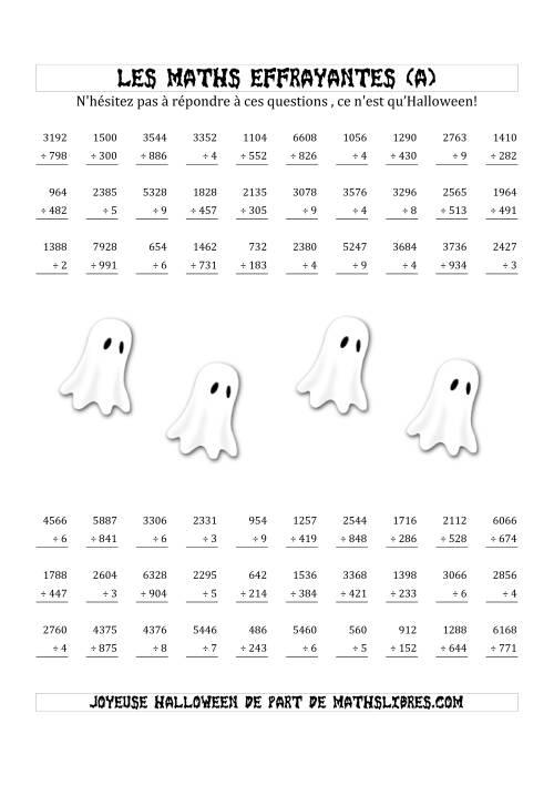 La Les Maths Effrayantes (Division à Un, Deux, Trois ou Quatre Chiffres) (A) Fiche d'Exercices pour l'Halloween