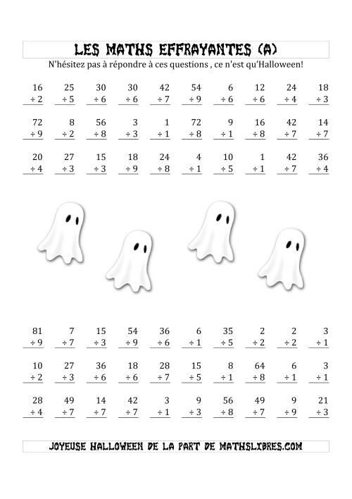 La Les Maths Effrayantes (Division à Un ou Deux Chiffres) (A) Fiche d'Exercices pour l'Halloween