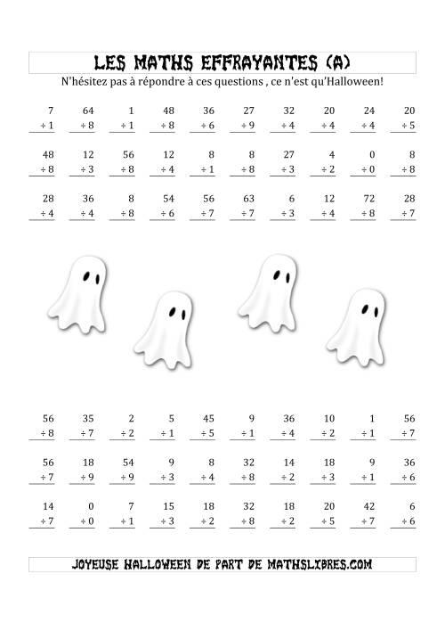La Les Maths Effrayantes (Division Ière Partie) (A) Fiche d'Exercices pour l'Halloween
