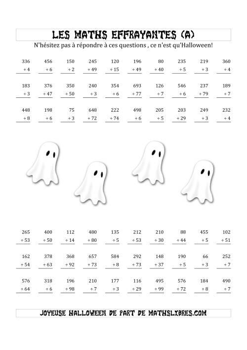 La Les Maths Effrayantes (Division IIème Partie) (A) Fiche d'Exercices pour l'Halloween