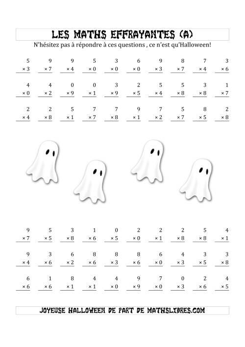 La Les Maths Effrayantes (Multiplication à Un Chiffre) (A) Fiche d'Exercices pour l'Halloween