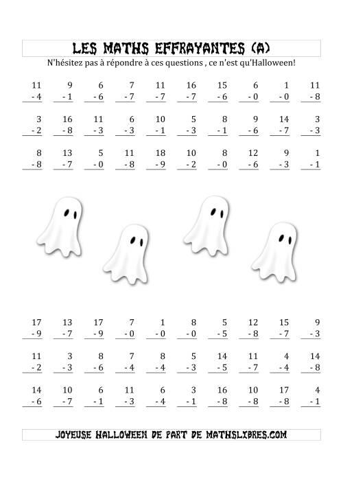 La Les Maths Effrayantes (Soustraction à Un & Deux Chiffres) (A) Fiche d'Exercices pour l'Halloween