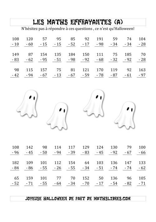 La Les Maths Effrayantes (Soustraction à Deux & Trois Chiffres) (A) Fiche d'Exercices pour l'Halloween