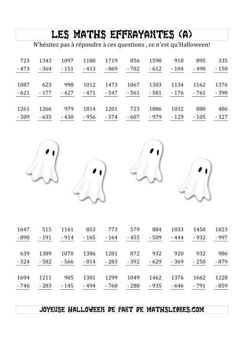 La Les Maths Effrayantes (Soustraction à Trois & Quatre Chiffres) (A) Fiche d'Exercices pour l'Halloween