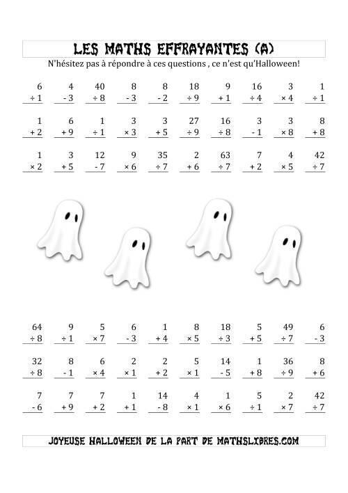 La Les Maths Effrayantes (Opérations à Un, Deux ou Trois Chiffres) (A) Fiche d'Exercices pour l'Halloween