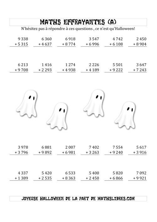 La Les Maths Effrayantes (Addition à Quatre Chiffres) (A) Fiche d'Exercices pour l'Halloween