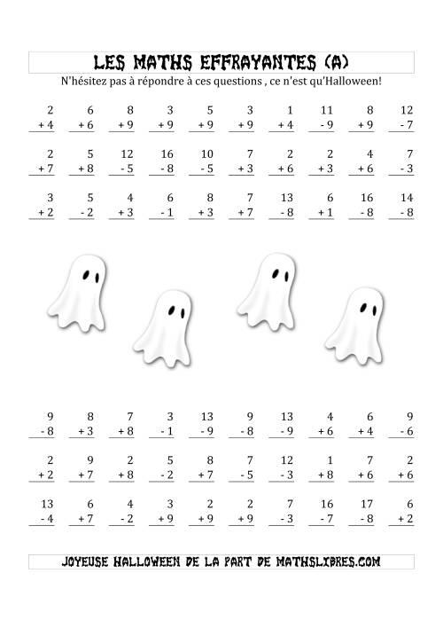 La Les Maths Effrayantes (Addition & Soustraction à Un ou Deux Chiffres) (A) Fiche d'Exercices pour l'Halloween