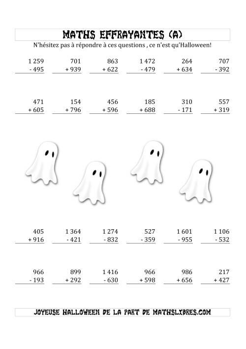 La Les Maths Effrayantes (Addition & Soustraction à Trois ou Quatre Chiffres) (A) Fiche d'Exercices pour l'Halloween