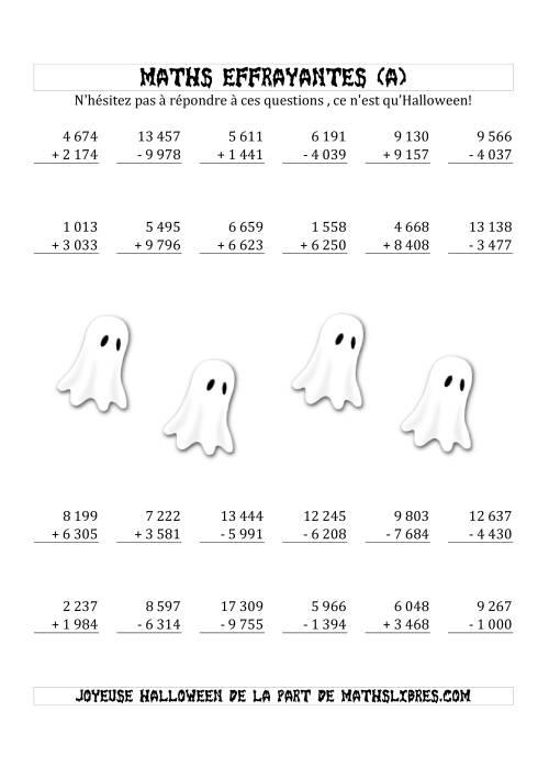 La Les Maths Effrayantes (Addition & Soustraction à Quatre ou Cinq Chiffres) (A) Fiche d'Exercices pour l'Halloween