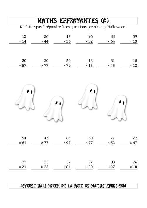 La Les Maths Effrayantes (Multiplication à Deux Chiffres) (A) Fiche d'Exercices pour l'Halloween