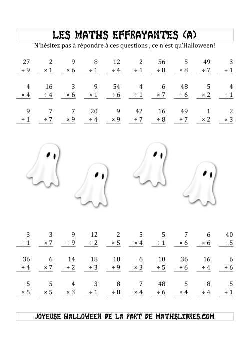 La Les Maths Effrayantes (Multiplication & Division à Un ou Deux Chiffres) (A) Fiche d'Exercices pour l'Halloween