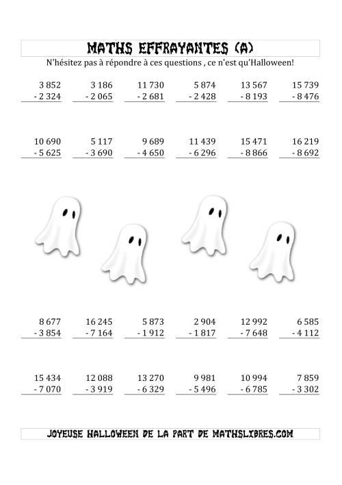La Les Maths Effrayantes (Soustraction à Quatre & Cinq Chiffres) (A) Fiche d'Exercices pour l'Halloween