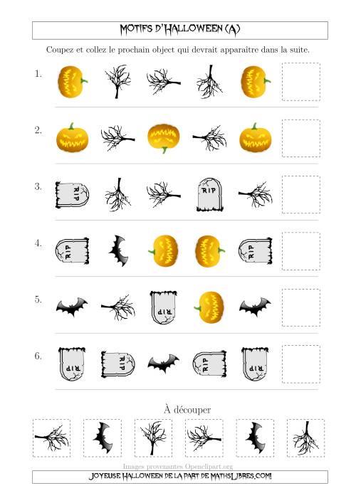 La Images de Motifs d'Halloween Effrayants avec Deux Particularités (Forme & Rotation) (A) Fiche d'Exercices pour l'Halloween