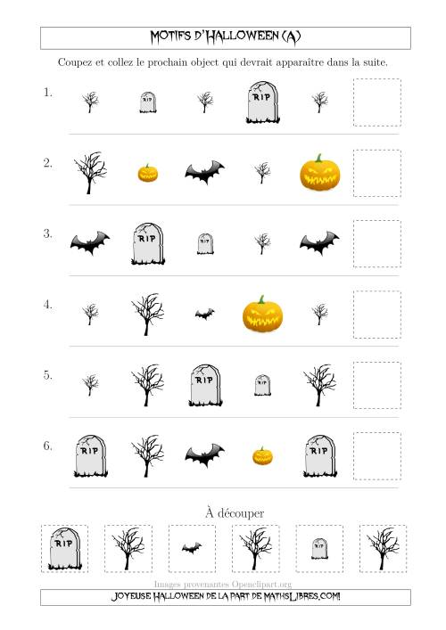 La Images de Motifs d'Halloween Effrayants avec Deux Particularités (Forme & Taille) (A) Fiche d'Exercices pour l'Halloween