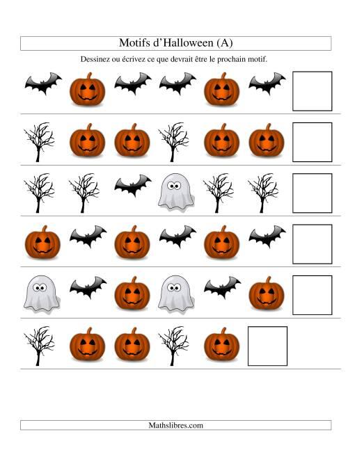 La Images de Motifs d'Halloween avec Deux Particularités (forme) (A) Fiche d'Exercices pour l'Halloween