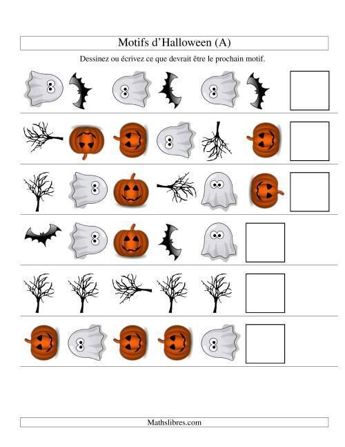 La Images de Motifs d'Halloween avec Deux Particularités (forme & rotation) (A) Fiche d'Exercices pour l'Halloween