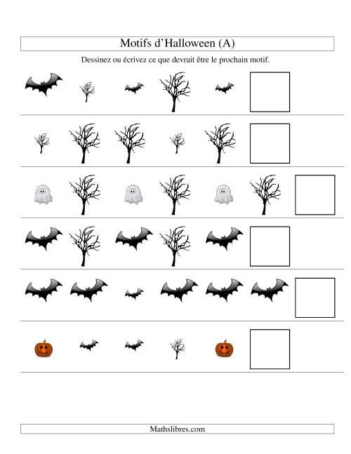 La Images de Motifs d'Halloween avec Deux Particularités (forme & taille) (A) Fiche d'Exercices pour l'Halloween