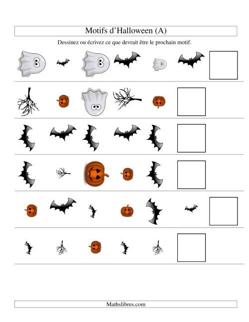 La Images de Motifs d'Halloween avec Trois Particularités (forme, taille & rotation) (A) Fiche d'Exercices pour l'Halloween