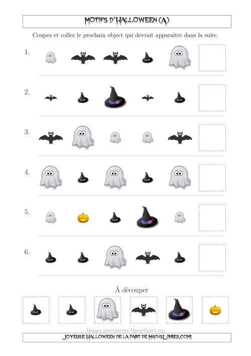 La Images de Motifs d'Halloween Pas Très Effrayants avec Deux Particularités (Forme & Taille) (A) Fiche d'Exercices pour l'Halloween