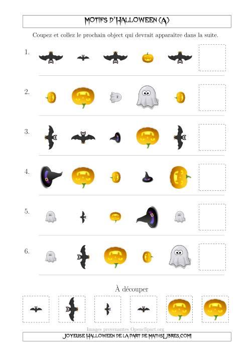 La Images de Motifs d'Halloween Pas Très Effrayants avec Trois Particularités (Forme, Taille & Rotation) (A) Fiche d'Exercices pour l'Halloween