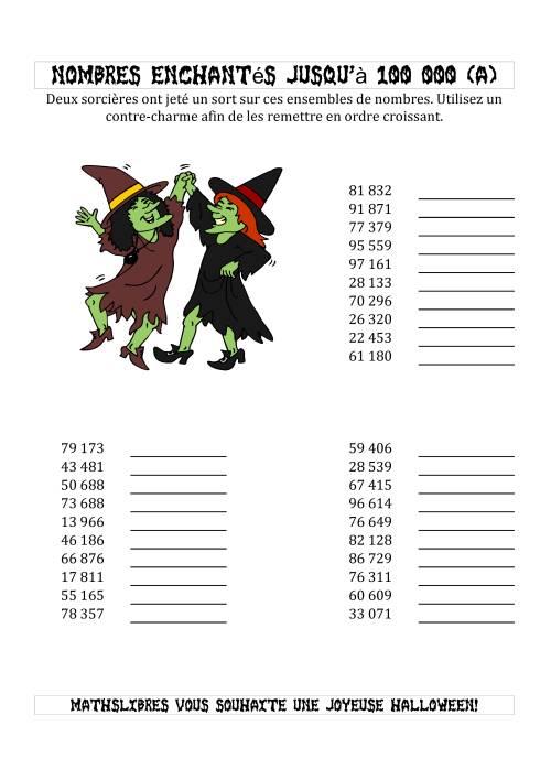 La Classer les Nombres Enchantés par les Sorcières Jusqu'à 100 000 en Ordre Croissant (A) Activités de Maths pour l'Halloween