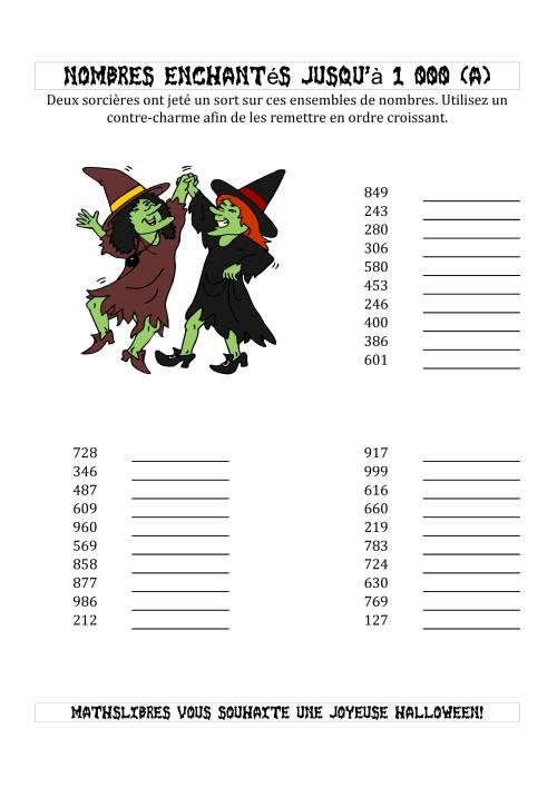 La Classer les Nombres Enchantés par les Sorcières Jusqu'à 1 000 en Ordre Croissant (A) Activités de Maths pour l'Halloween