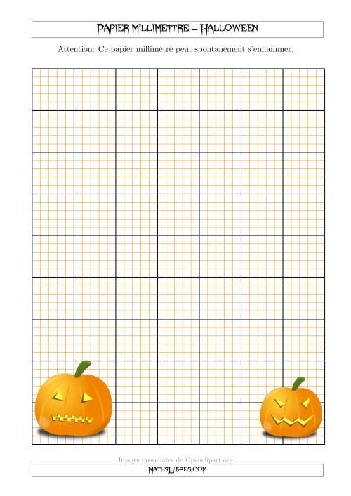 La Papier Milliméttré avec des Citrouilles d'Halloween (2,5/0,5 cm) (A) Fiche d'Exercices pour l'Halloween