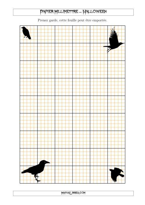 La Papier Milliméttré avec un Corbeau d'Halloween (5 Lignes/Pouce) (A) Fiche d'Exercices pour l'Halloween