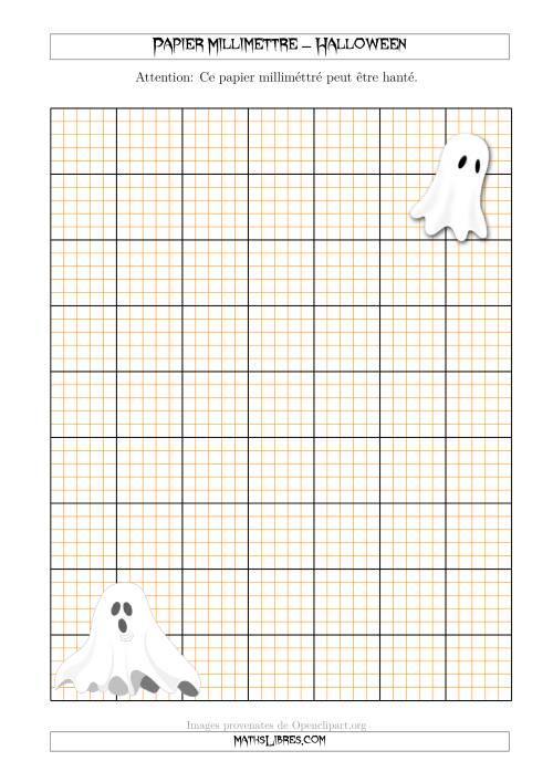 La Papier Milliméttré avec d'Esprits d'Halloween (2,5/0,5 cm) (A) Fiche d'Exercices pour l'Halloween