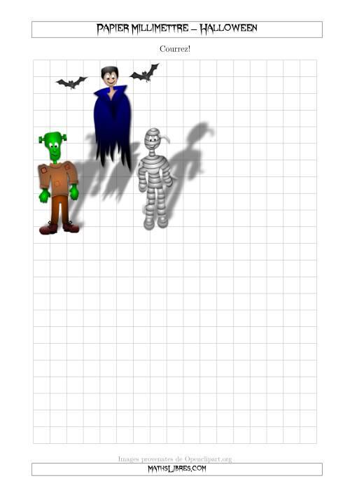 La Papier Milliméttré avec une Chauve-Souris d'Halloween (1/2 Pouce) (A) Fiche d'Exercices pour l'Halloween