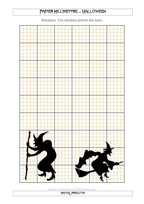 La Papier Milliméttré avec des Sorcières d'Halloween (5 Lignes/Pouce) (A) Fiche d'Exercices pour l'Halloween