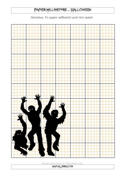 La Papier Milliméttré avec des Zombies d'Halloween (2,5/0,5 cm) (A) Fiche d'Exercices pour l'Halloween