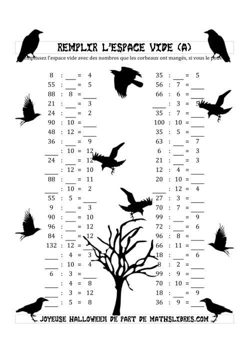 La Remplir l'Espace Vide (Division avec des Nombres dans l'intervale de 2 à 12) (A) Fiche d'Exercices pour l'Halloween