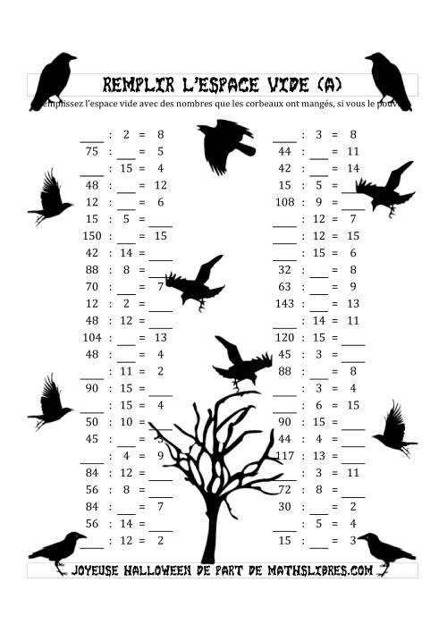 La Remplir l'Espace Vide (Division avec des Nombres dans l'intervale de 2 à 15) (A) Fiche d'Exercices pour l'Halloween
